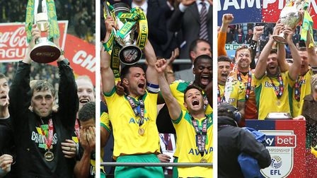 Norwich City's promotions, from left, in 2010, 2015 and 2019 Pictures: Nick Butcher (2010) and Paul
