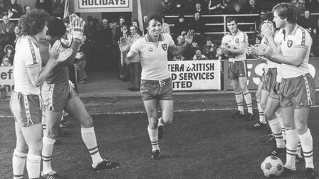 Martin Peters is given a guard of honour in November, 1978, having been made an MBE Picture: Archant