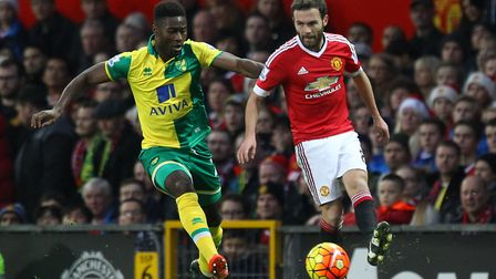 Alex Tettey scored the winner on his last Norwich City appearance at Manchester United Picture: Paul