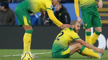 Teemu Pukki holds his toe after a tackle with Leicester's Ricardo Pereira Picture: Paul Chesterton/F