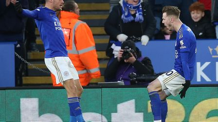 Jamie Vardy celebrates with James Maddison after Leicester's equaliser - credited to Canaries keeper