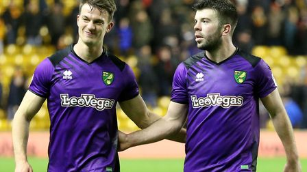 Christoph Zimmermann and Grant Hanley, right, following a 2-2 draw at Wolves in February 2018 Pictur