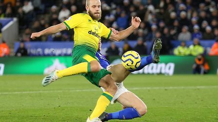Teemu Pukki is denied a shot on goal by a great block from Caglar Soyuncu Picture: Paul Chesterton/F