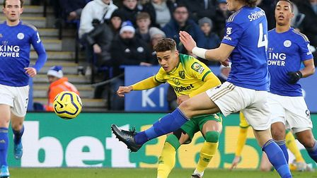 Max Aarons' early cross for Norwich City was so nearly turned into a goal by Teemu Pukki at Leiceste