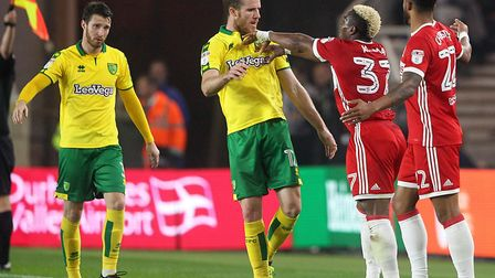 Adama Traore objected to some rough treatment from marley Watkins as Norwich won 1-0 at Middlesbroug