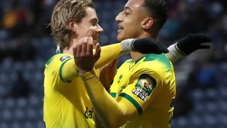 Adam Idah of Norwich City celebrates with Todd Cantwell after scoring the fourth goal against Presto