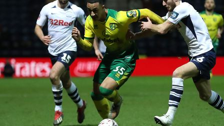Adam Idah of Norwich City in action against Preston North End during the FA Cup match at Deepdale Pi