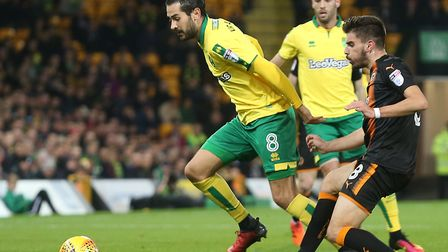 Mario Vrancic holds off Ruben Neves in Norwich City's last Carrow Road meeting with Wolves Picture:
