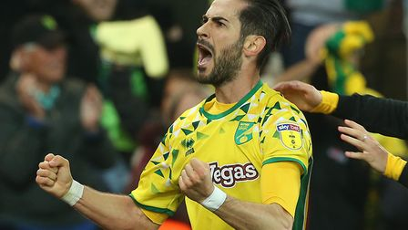 Mario Vrancic celebrates his vital late equaliser against Sheffield Wednesday at the end of last sea