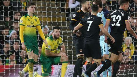 Grant Hanley gets to his feet after being unable to prevent Raul Jimenez scoring the winner for Wolv