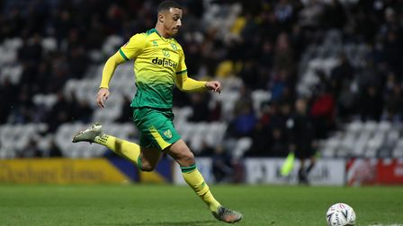Adam Idah of Norwich City in action against Preston North End during the FA Cup match at Deepdale, P