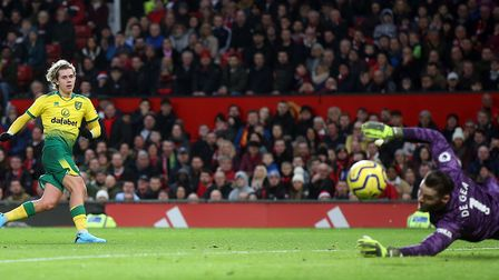 Manchester United keeper David De Gea superbly denied Todd Cantwell when the score was still 1-0 at