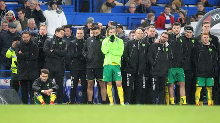 Daniel Farke and players watch on during the FA Cup penalty shootout defeat against Chelsea - what w