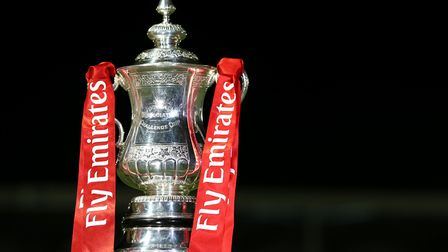 The FA cup trophy during the Emirates FA Cup first round match at Silverlake Stadium, Eastleigh.