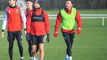 Josip Drmic, right, is working his way back from a hamstring injury for the Canaries and was back in