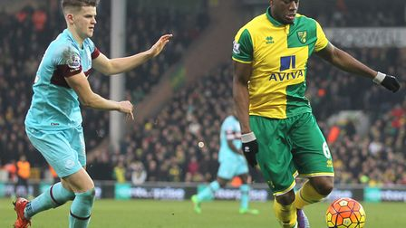 Seb Bassong tussles with Sam Byram in his Premier League days for Norwich City Picture: Paul Chester