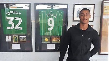 Norwich City striker Adam Idah pictured on a visit to his old school Picture: Douglas Community Scho