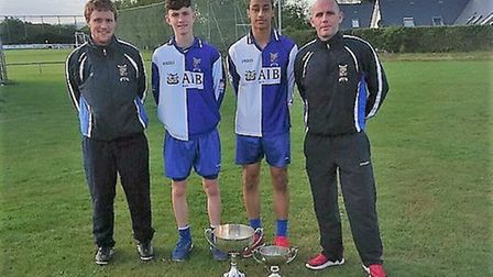 Norwich City striker Adam Idah, second from right, and coach Kevin Ronayne, right with the Cork Scho