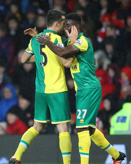 Alex Tettey celebrates his Old Trafford winner - at great personal cost to Spud Thornhill Picture: P