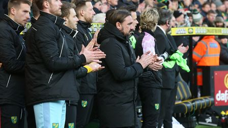 Norwich City head coach Daniel Farke during the minute's remembrance for the club's former manager R
