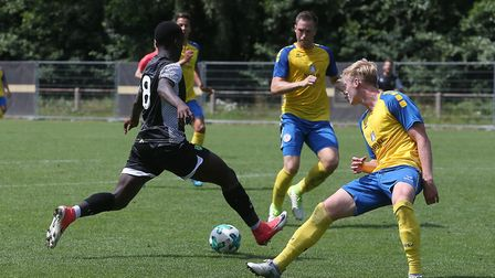 Diallang Jaiyesimi of Norwich scores his sides 1st goal during the a pre-season match with Brauschwe