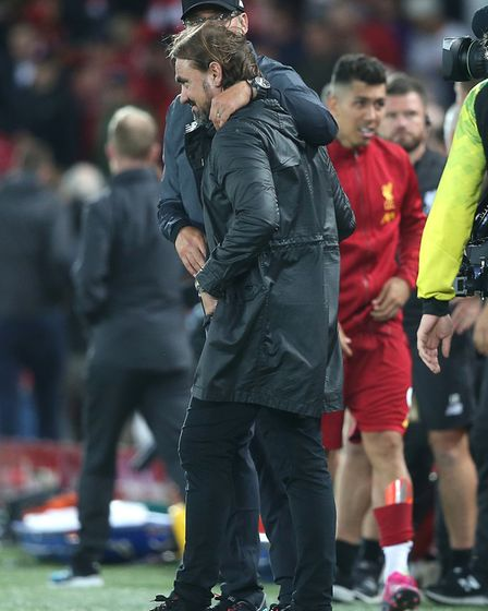 Sympathy from Liverpool boss Jurgen Klopp to Daniel Farke after the clash at Anfield Picture: Paul C