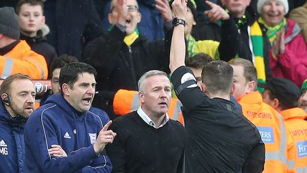 Ipswich Town manager Paul Lambert was red carded for his role in a touchline fracas on this day 12 m