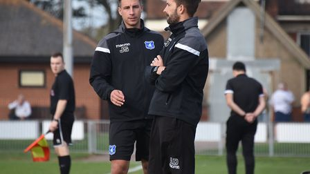 Wroxham boss Jordan Southgate, left, and assistant Adam Drury Picture: Archant