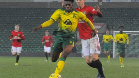 Tyrese Omotoye in possession for Norwich against Manchester United in the FA youth Cup Picture: Tony