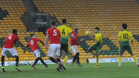 Andrew Omobamidele's shot was charged down by the United defence in the first half Picture: Tony Thr