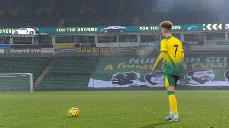 Josh Martin shapes to deliver a free-kick for the young Canaries Picture: Tony Thrussell
