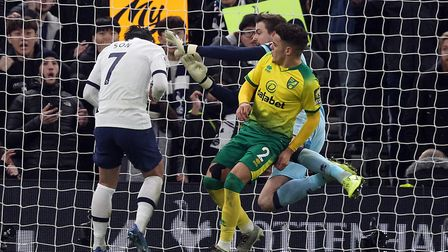 Son Heung-Min score his sides second goal after heading in from a deflected cross. Picture: Paul Che