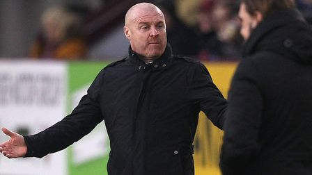Burnley boss Sean Dyche and his opposite number Daniel Farke during the FA Cup tie at Turf Moor Pict
