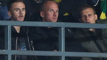 From left, James, Maddison, John Ruddy and Ryan Bennett watched Norwich draw 1-1 at Derby during the