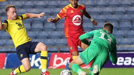 Norwich City prospect Shae Hutchinson in EFL Trophy action against Oxford United Picture: Paul Chest