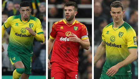 Norwich City defenders, from left, Ben Godfrey, Grant Hanley and Christoph Zimmermann Pictures: Paul