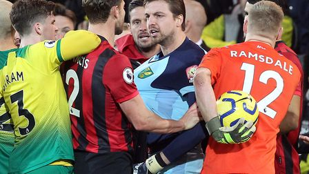 Tim Krul was booked for his part in a flashpoint ahead of Ben Godfrey's red card during Norwich City
