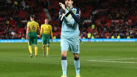 Tim Krul applauds the vocal travelling support at Old Trafford. Picture: Paul Chesterton/Focus Image