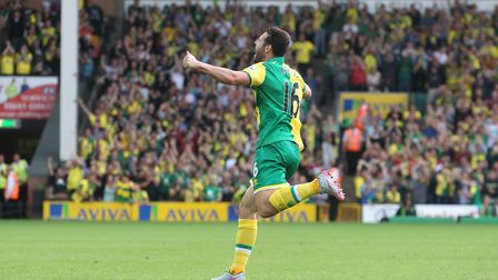 Matt Jarvis of Norwich celebrates scoring his sides 3rd goal during the Barclays Premier League matc