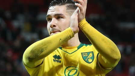 Emi Buendia applauds the Norwich City fans at full-time at Old Trafford Picture: Paul Chesterton/Foc