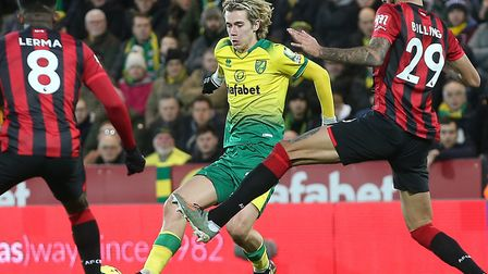 Todd Cantwell was in top form as Norwich City beat Bournemouth 1-0 at Carrow Road Picture: Paul Ches