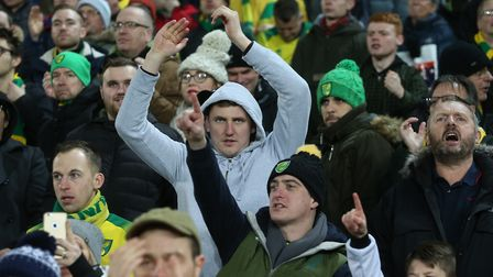 The Norwich fans at the end of the Premier League match at Carrow Road, NorwichPicture by Paul Chest
