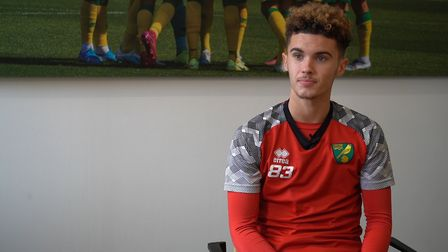 Norwich City youngster Josh Martin speaking before the FA Youth Cup fourth round tie against Manches