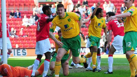 Michael Nelson turns to celebrates his promotion winning goal at Charlton for Norwich City in April