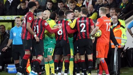 Tempers flared as Referee Paul Tierney checked VAR at the side of the pitch. Picture: Paul Chesterto