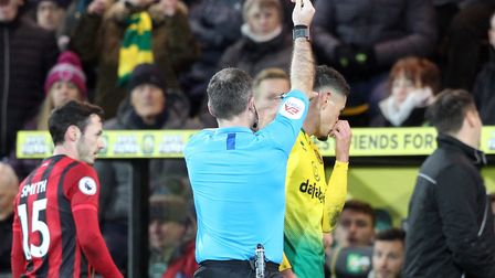 Ben Godfrey was sent off in the closing stages of Norwich City's 1-0 Premier League win against Bour