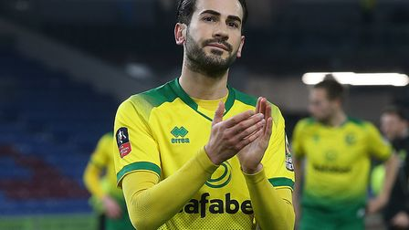 Mario Vrancic applauds the traveling support at the end ofNorwich City's win at Burnley in the FA Cu