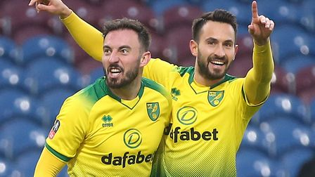 Josip Drmic and Lukas Rupp savour Norwich City's FA Cup match-winner against Burnley Picture: Paul C