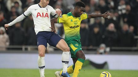 Son Heung-Min is out-muscled by Alex Tettey during Norwich City's narrow loss at Tottenham last week