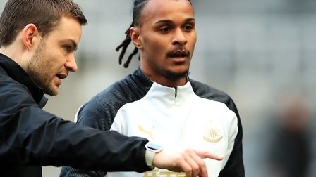Valentino Lazaro, right, was ineligible to play during Newcastle's 0-0 home draw with Oxford in the